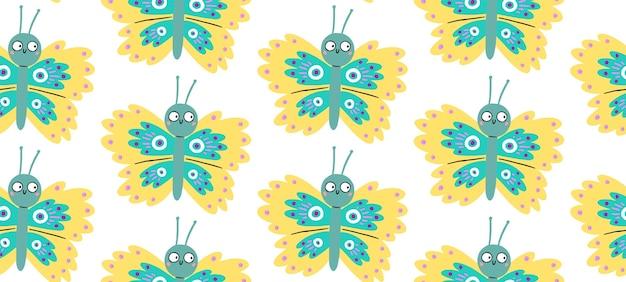 Modello senza cuciture con farfalle carine con occhi sorpresi divertenti.