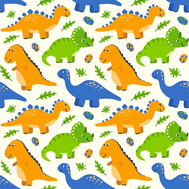 Modello senza cuciture con dinosauri e uova simpatico cartone animato sfondo per bambini con dinosauri disegnati a mano