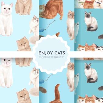 Seamless con simpatico gatto