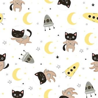 Modello senza cuciture con simpatici gatti astronauti in caschi. sfondo senza soluzione di continuità per il design dei bambini, carta da imballaggio, carta da parati, tessile, abbigliamento, tessuto. illustrazione di vettore eps10.