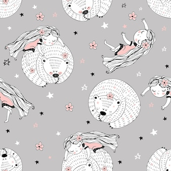 Modello senza cuciture con simpatici personaggi in stile doodle. la ragazza e l'orso dormono. vettore.