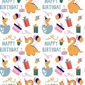 Modello senza cuciture con simpatici dinosauri. i dinosauri festeggiano il loro compleanno con regali e dolci. vettore.