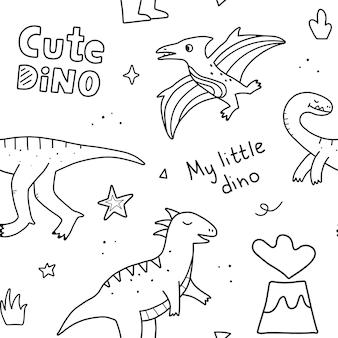 Modello senza cuciture con simpatici dinosauri e scritte a mano. disegno di doodle di vettore disegnato a mano per i bambini.