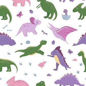 Modello senza cuciture con simpatici dinosauri con nuvole, uova, ossa, uccelli per bambini. sfondo di personaggi dei cartoni animati piatto dino. illustrazione di rettili preistorici carino.