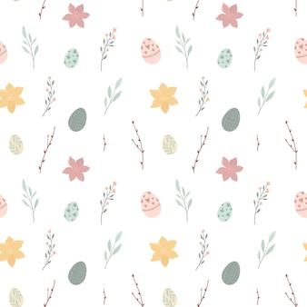Modello senza cuciture con graziose uova di pasqua e illustrazione di fiori