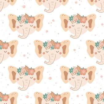 Modello senza cuciture con elefante carino e bouquet di fiori rosa e blu. sfondo con animali selvatici in stile piatto. illustrazione per bambini. design per carta da parati, tessuto, tessuti, carta da imballaggio. vettore
