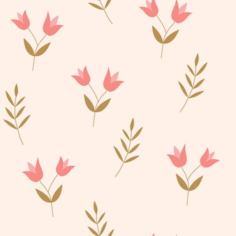 Modello senza cuciture con fiori carini su uno sfondo rosa illustrazione vettoriale per tessuto