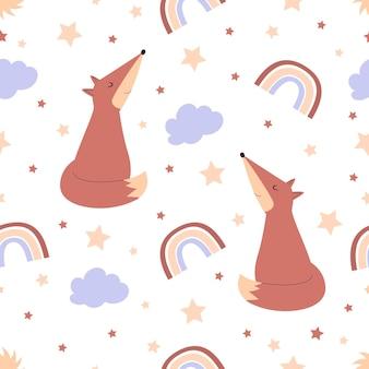 Modello senza cuciture con simpatica volpe per bambini illustrazione per sfondi di modelli di poster di vivaio