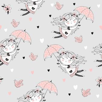Modello senza cuciture con ragazze carine che volano sugli ombrelli. vettore.