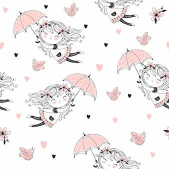 Modello senza cuciture con ragazze carine che volano sugli ombrelli.