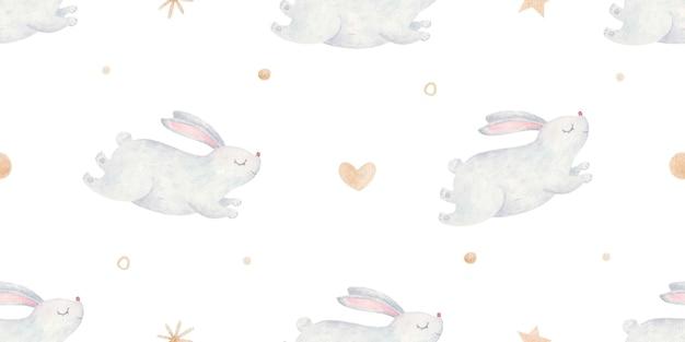 Modello senza cuciture con simpatici conigli grigi, cuori, punti, stelle d'oro, simpatica illustrazione infantile