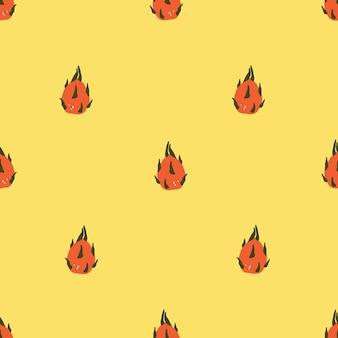 Modello senza cuciture con dragonfruit disegnato a mano carino. modello accogliente in stile scandinavo hygge per tessuto, confezione, design di magliette per bambini. illustrazione vettoriale in stile cartone animato piatto