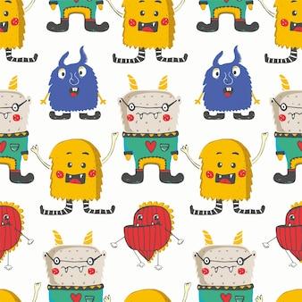 Modello senza cuciture con simpatici mostri felici disegnato a mano può essere utilizzato per la stampa di magliette per bambini