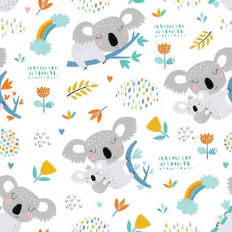 Seamless con graziosi koala.
