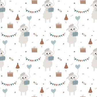 Modello senza cuciture con simpatiche pecorelle con scatola regalo e palloncino illustrazione per bambini
