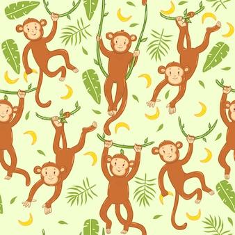 Modello senza cuciture con scimmie carine. Vettore Premium