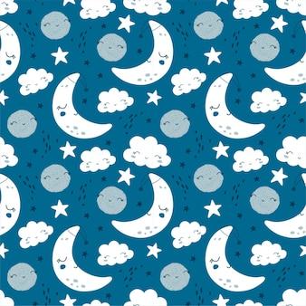 Modello senza cuciture con carina luna, stelle e nuvole. sfondo di bambini. illustrazione