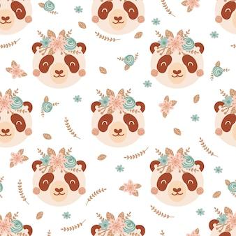 Modello senza cuciture con panda carino e bouquet di fiori rosa e blu. sfondo con animali selvatici in stile piatto. illustrazione per bambini. design per carta da parati, tessuto, tessuti, carta da imballaggio. vettore