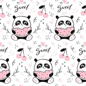 Modello senza cuciture con simpatico personaggio di panda che mangia anguria.