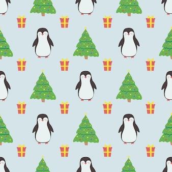 Modello senza cuciture con simpatico albero di natale pinguino e regali per confezioni di carta da imballaggio