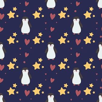 Modello senza cuciture con simpatici pinguini e stelle su uno sfondo scuro stampa per bambini design