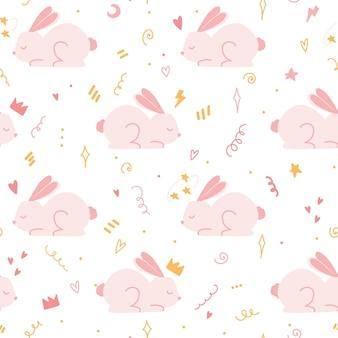 Modello senza cuciture con simpatico coniglio rosa. design senza cuciture per vestiti del bambino o asilo nido