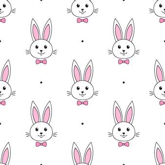 Modello senza cuciture con simpatici conigli con farfallino