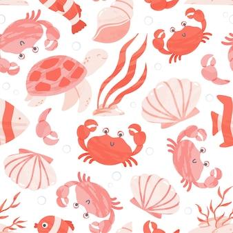 Modello senza cuciture con simpatici animali marini e oceanici, coralli e conchiglie. illustrazione del fumetto.
