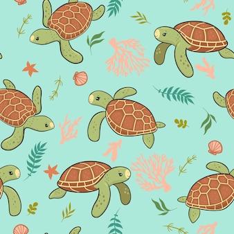 Modello senza cuciture con simpatiche tartarughe marine. grafica vettoriale.