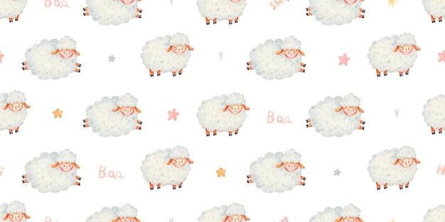 Modello senza cuciture con simpatiche pecore, cuori e stelle