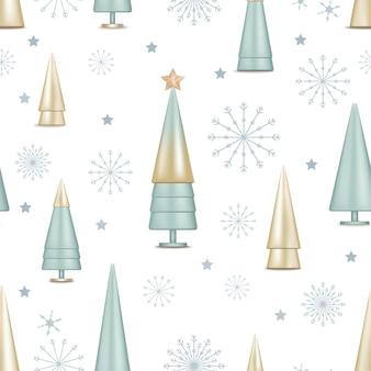 Modello senza cuciture con fiocchi di neve carino, stella e albero di natale conico dorato