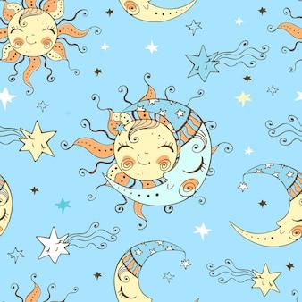 Modello senza cuciture con graziosi sole e luna nel cielo stellato.