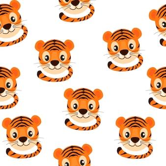 Modello senza cuciture con faccia di tigre carina per carta da parati. illustrazione vettoriale di sfondo luminoso strutturale del simbolo animale 2022.