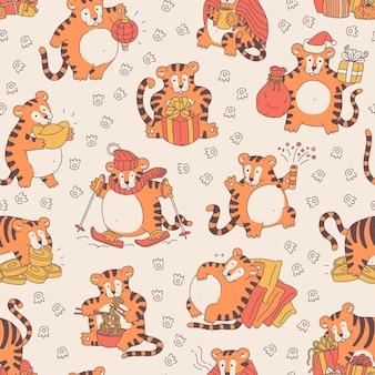 Modello senza cuciture con tigri carine. fondo festivo con il tigri di simbolo cinese divertente del nuovo anno. illustrazione di personaggi dei cartoni animati di vettore.