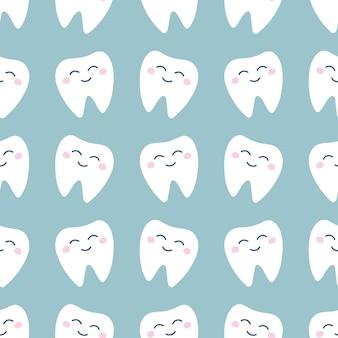 Modello senza cuciture con denti bianchi carini su sfondo chiaro in stile cartone animato piatto