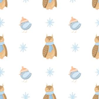 Modello senza cuciture con graziosi uccelli invernali, gufo e fiocchi di neve