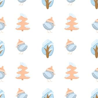 Modello senza cuciture con alberi e uccelli invernali carino