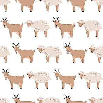 Modello senza cuciture con carino con soffici pecore e capre bianche. sfondo con animali da fattoria. carta da parati, confezione. illustrazione vettoriale piatta