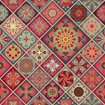 Modello senza cuciture con mandala decorativi. elementi vintage mandala. patchwork colorato.