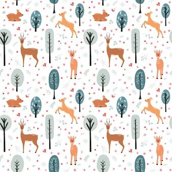 Modello senza cuciture con cervi, daini, caprioli sullo sfondo di un albero, pianta, cespuglio ed elementi diversi. illustrazione