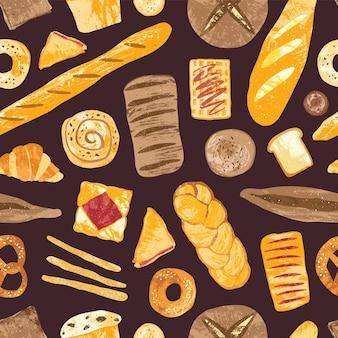 Modello senza cuciture con pane delizioso, pasticceria dolce, prodotti da forno o prodotti da forno di vario tipo