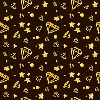 Modello senza cuciture con diamanti e stelle carta digitale con elementi in oro