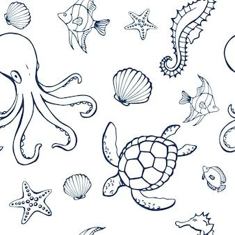 Modello senza cuciture con diversi animali e oggetti marini. fondo di vita sottomarina dell'oceano o del mare. elementi di concetto. illustrazione vettoriale in stile disegnato a mano.