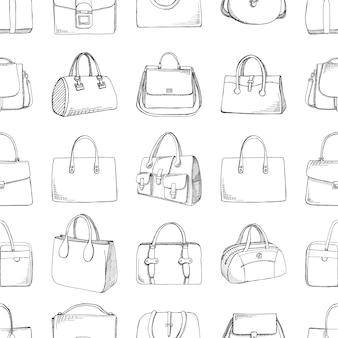 Modello senza cuciture con diverse borse in stile schizzo. illustrazione vettoriale.