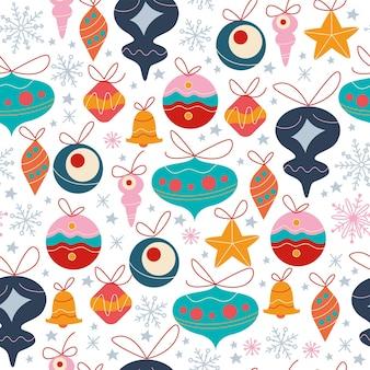 Modello senza cuciture con diversi giocattoli di decorazione dell'albero di abete, campane e palline, fiocchi di neve astratti e stelle isolate. per biglietti di natale, inviti, carta da imballaggio. piatto del fumetto di vettore.