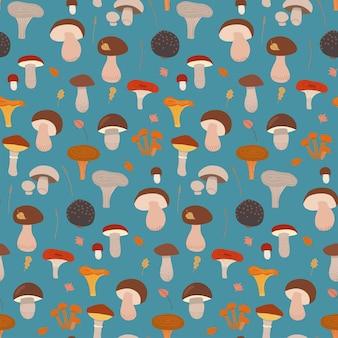 Modello senza cuciture con diversi funghi sull'illustrazione disegnata a mano piana di vettore del fondo blu