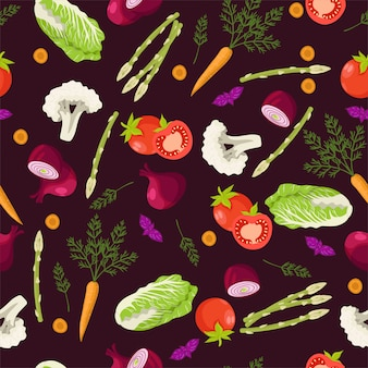 Modello senza cuciture con diverse verdure. grafica.