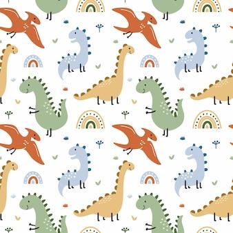 Modello senza cuciture con dinosauro e pterodattilo. animali preistorici. sfondo per cucire abbigliamento per bambini, stampa su tessuto e carta da imballaggio.