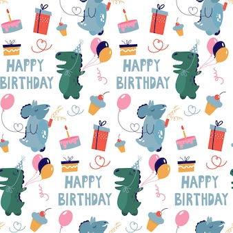 Modello senza cuciture con i dinosauri che festeggiano un compleanno. simpatici personaggi e regali in stile scarabocchio.