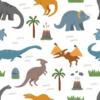 Modello senza cuciture con dinosauri ed elementi decorativi su sfondo bianco illustrazione vettoriale